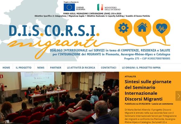 D.I.S.CO.R.S.I. Migranti. Dialogo Interregionale sui Servizi in tema di COmpetenze, Residenza e Salute per l'Integrazione dei Migranti  in Piemonte, Auvergne-Rhône-Alpes e Catalogna